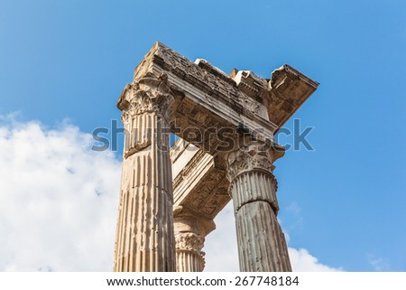 Pillars of ancient ruins in Rome, Italy - stock photo