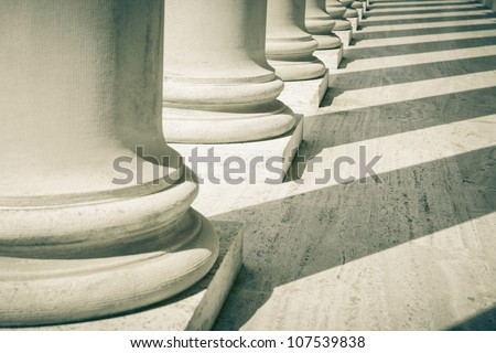 Pillars of Law and Justice - stock photo