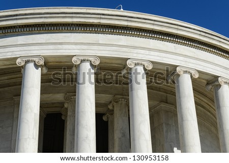 Pillars of the Jefferson Memorial - stock photo