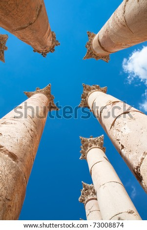 Pillars Temple of Artemis in Jerash, Jordan.