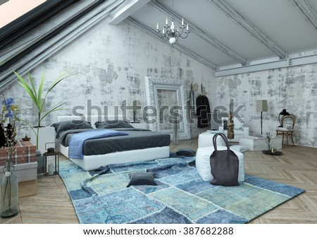 Pillow and bag on crumpled carpet next to bed with frame on unfinished wall in modern small bedroom. 3d Rendering. - stock photo