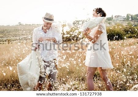 Pillow Fight - stock photo