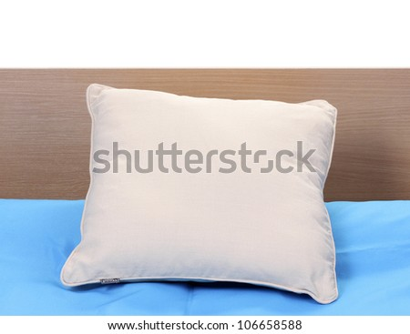pillow on bed on white background - stock photo