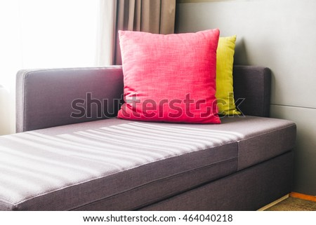Pillow on sofa decoration at living area in bedroom interior