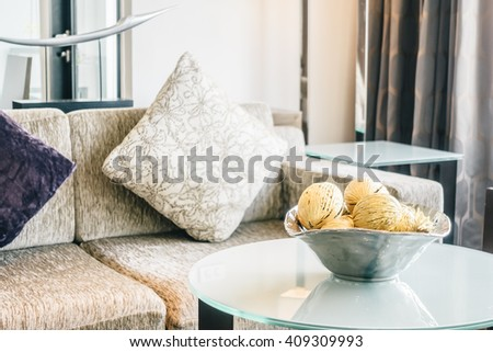 Pillow on sofa decoration in living room area - Vintage light Filter