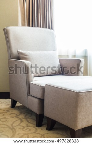 Pillow on sofa decoration in luxury living room area interior