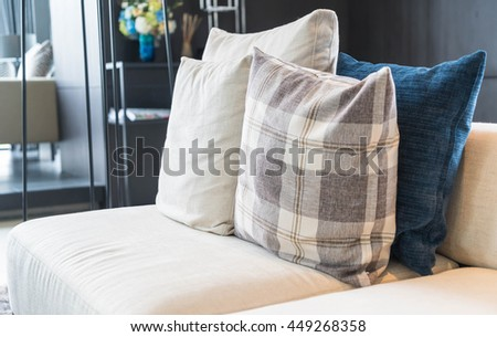 Pillow on sofa decoration interior in living room