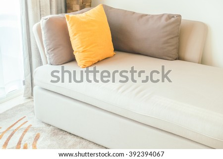 Pillow on sofa decoration interior of living room - Vintage Light filter