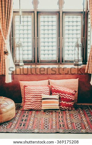 Pillow on sofa decoration interior with morocco style - Vintage Filter - stock photo