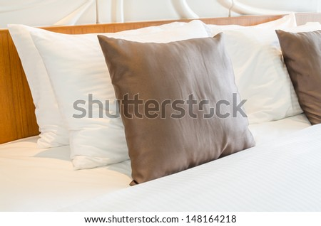 Pillow on the bed - stock photo