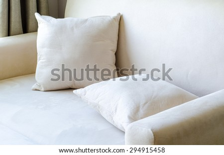 pillow placed on Sofa cream color  instagram  tone