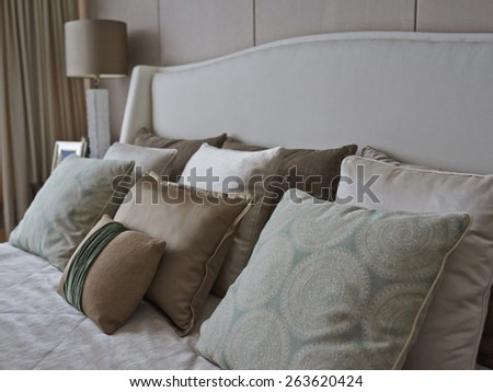 pillows in bedroom - stock photo