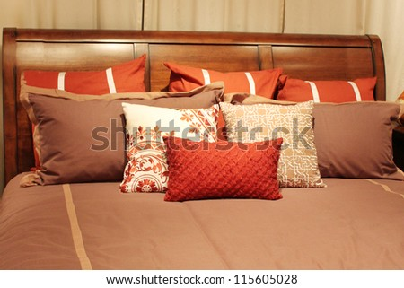 Pillows on a bed - stock photo