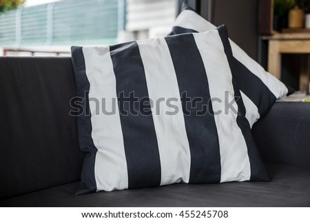 pillows on a casual sofa in the living room