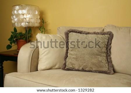 Pillows on sofa - stock photo