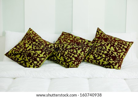 Pillows on the bed. - stock photo