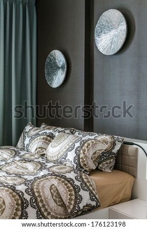 Pillows on the bed in the bedroom - stock photo