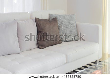 Pillows on white sofa in living room