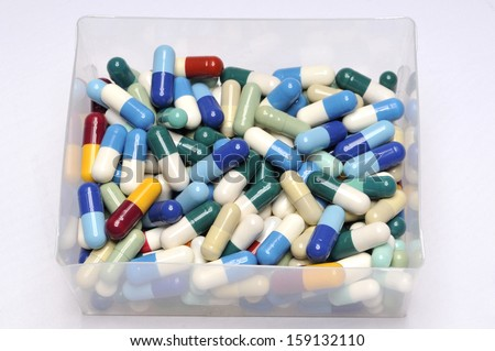 Pills and capsules in colors