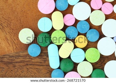 pills and capsules medical background - stock photo