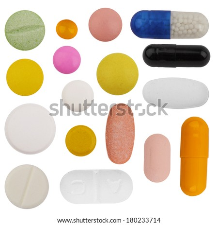 pills and tablets isolated on a white background - stock photo