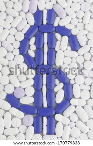 Pills and tablets white background with dolar symbol in color - stock photo
