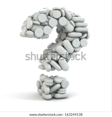 Pills as question on white isolated background. Medical concept. 3d - stock photo
