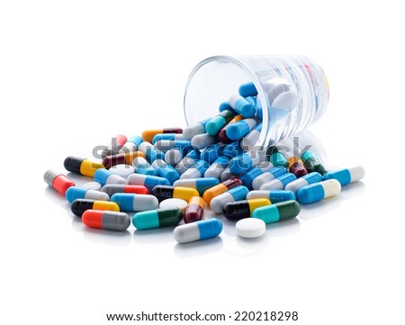 pills capsules on white background
