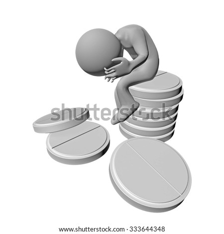 pills character, cure headaches, addiction - stock photo