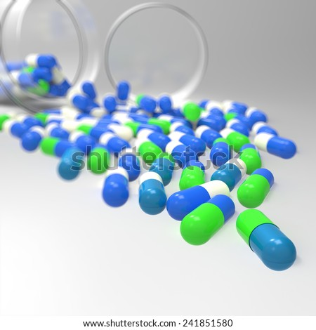 Pills 3d spilling out of pill bottle on white