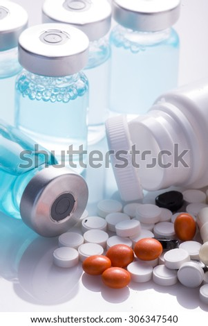 Pills, drugs, ampoules. Medicine. Health.