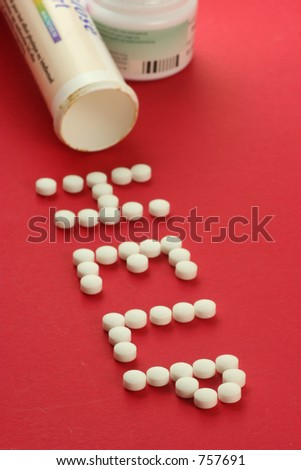 pills forming the word help