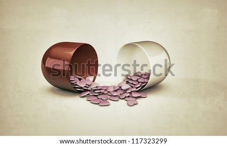 pills heart shaped isolated on white background