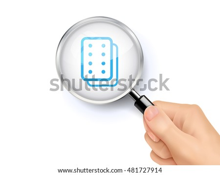 Pills icon sign showing through by magnifying glass held by hand. 3D illustration.