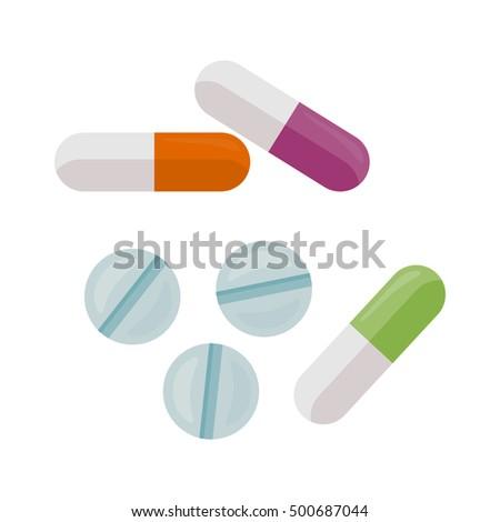 Pills Vector Illustration Flat Style Design Stock Vector 486592732 - Shutterstock