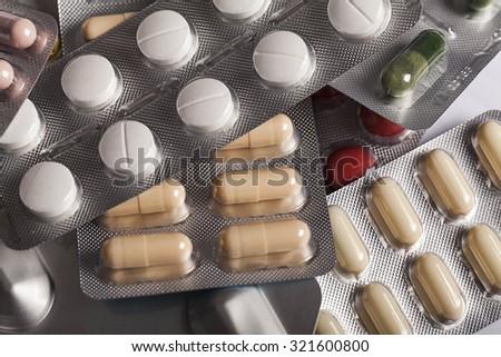 Pills in blister pack  - stock photo
