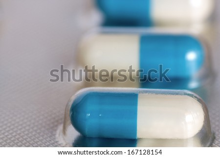 Pills in blister pack closeup.medical background