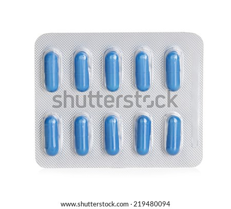 Pills in blister packs isolated on white background - stock photo