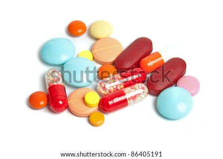 pills isolated on white background - stock photo