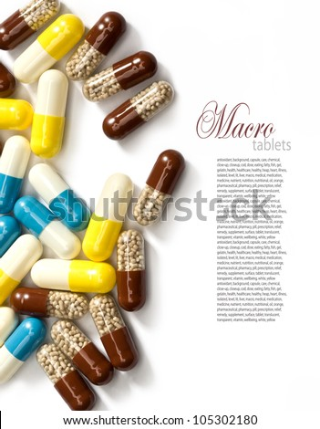 Pills  isolated on white (with sample text) - stock photo