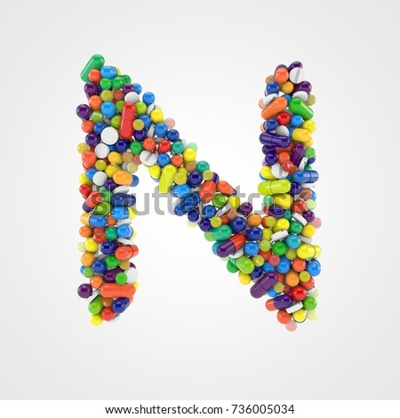Pills letter N uppercase. 3D render font made of various colorful pills, capsules and tablets isolated on white background.