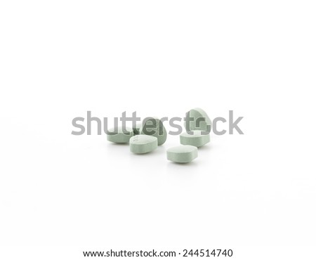 pills of medicine on white background