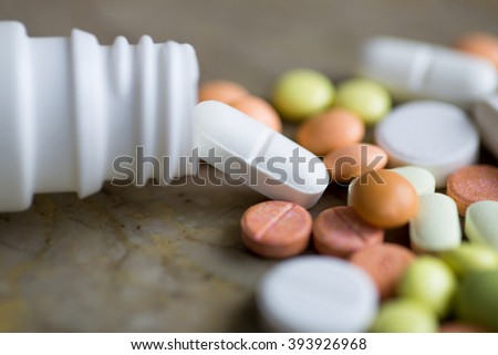 pills on marble background