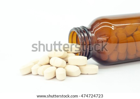 pills over white background.