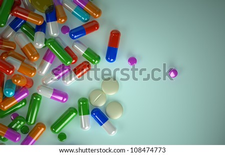 Pills scattered from above, a lot of pills, a close plan
