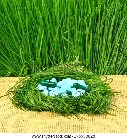 Pills, tablets and wheat grass in the nest on white - stock photo