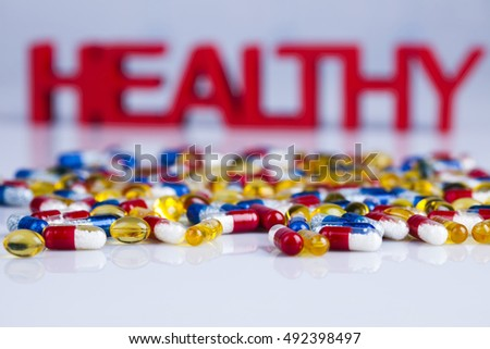 Pills, Tablets, Capsule, Medical background