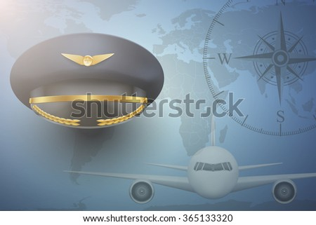 Pilot aircraft civil aviation background. Peaked Cap on map. - stock photo