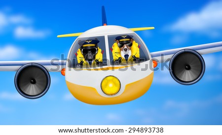 pilot and copilot dogs in cockpit cabin flying , landing or departing  for a summer vacation holiday  with funny airplane - stock photo