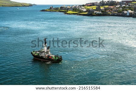 Pilot boat at Lerwick, the capital of the Shetland Islands, which are located in the North Sea to the northeast of Scotland, United Kingdom - stock photo